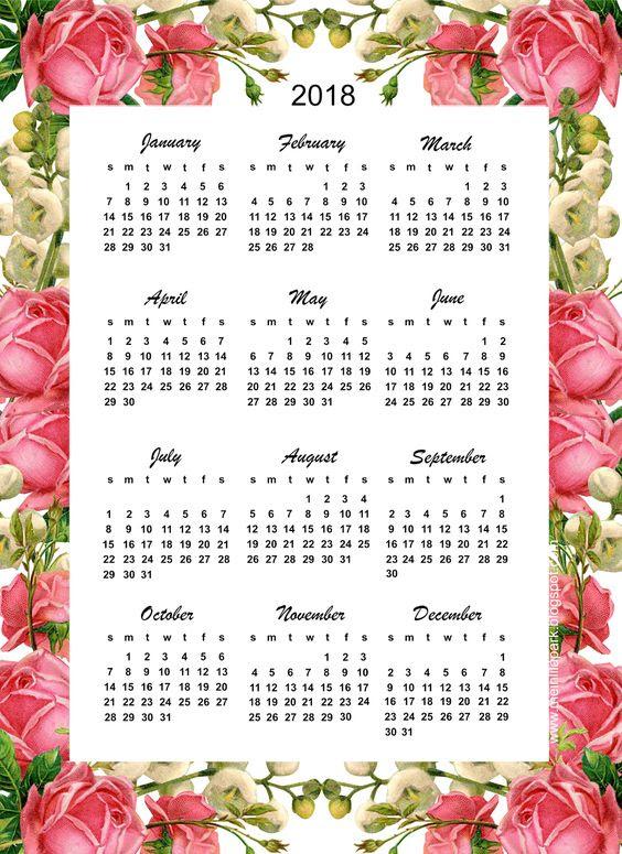 free printable 2018 calendar - rose calendar