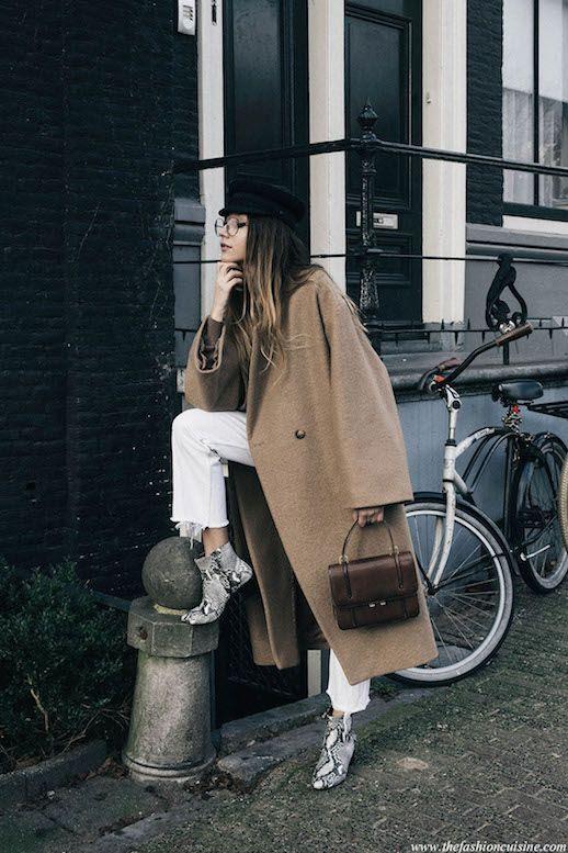 Le Fashion Blog Trendy Long Tan Coat White Denim Snakeskin Boots Via The Fashion Cuisine