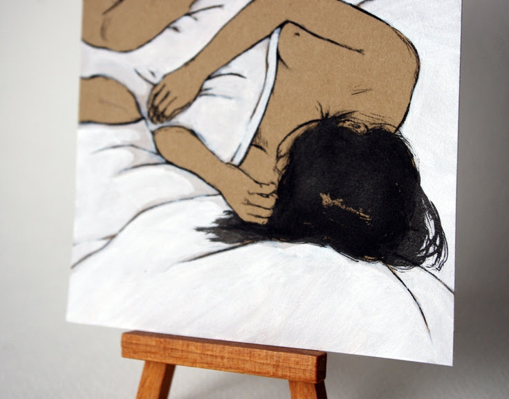 Pillow Hug, Charcoal Ink and Acrylic Drawing by Stasia Burrington