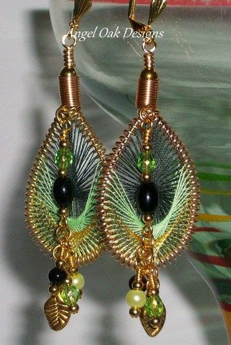 Peruvian String Art Earrings in Greens and Golds | AngelOakDesigns - Jewelry on ArtFire