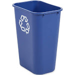 Rubbermaid FG295773BLUE 41-1/4 Qt. Deskside Recycle Bin - Rolled Rims - Blue