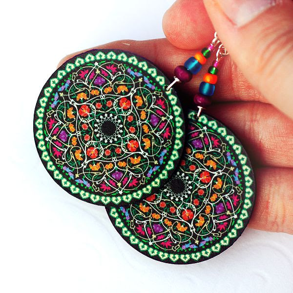 Oriental Mandala - decoupage earrings - purple, fuchsia,