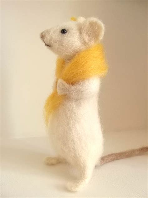 Needle Felted White Mouse With Her Own Tiny Vintage Pearl