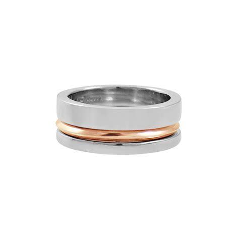 INWAVES   Mens Palladium & Rose Gold Engagement Ring Stack