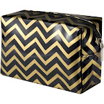 Zodaca Lightweight Travel Cosmetic Makeup Toiletry Bag Organizer Storage Zipper Pouch Case - Black/Gold