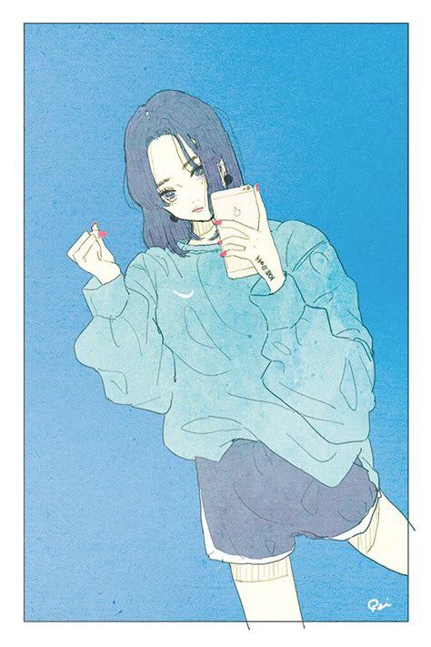 korean girl  phone nail polish nice outfit  blue