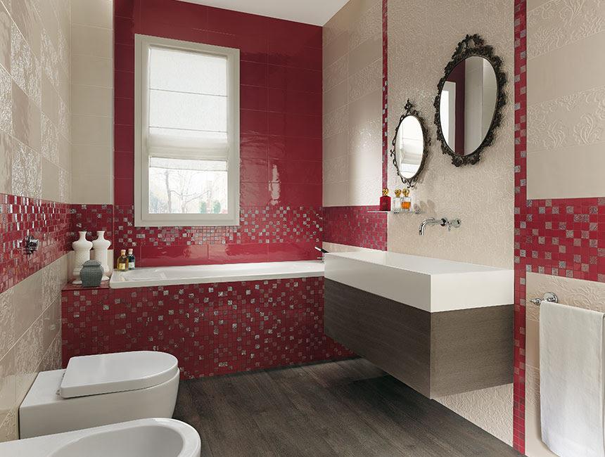 Red cream bathroom design | Interior Design Ideas.