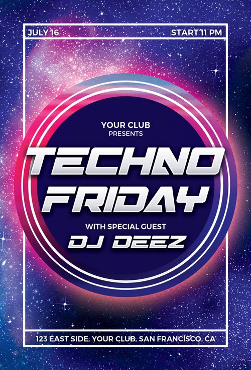 Techno Party Flyer Template for Photoshop | Awesomeflyer.com