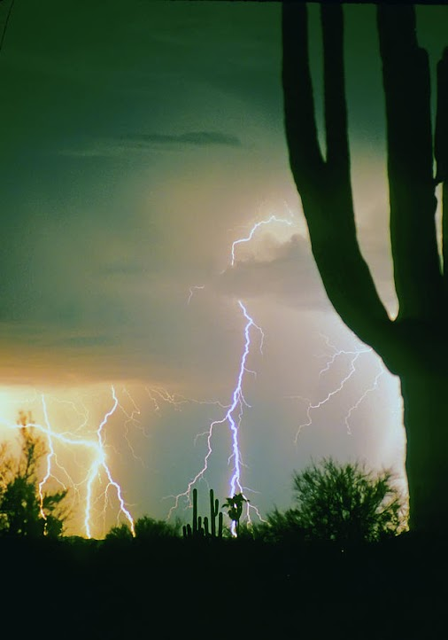 Giant Saguaro Cactus Lightning Thunderstorm - one of my most favorite subjects when I lived in the desert...
