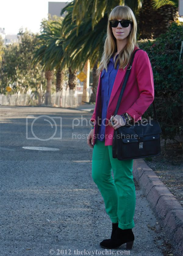 color blocking trend, H&M colored denim, Los Angeles fashion blogger, southern California fashion blog