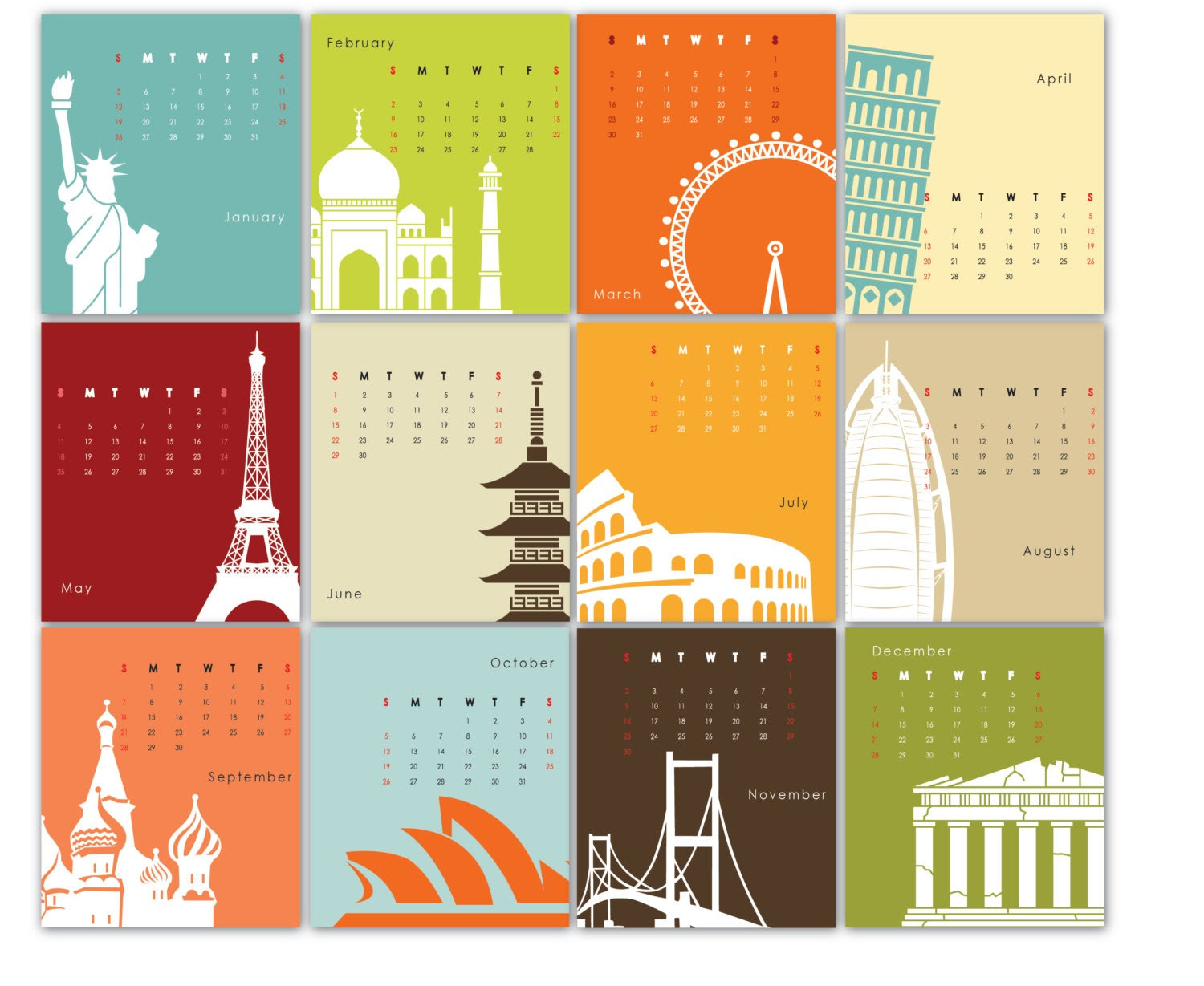 Printable Calendar 2014 - Landmark Architecture, Building Silhouettes, travel destinations - colorful illustrations