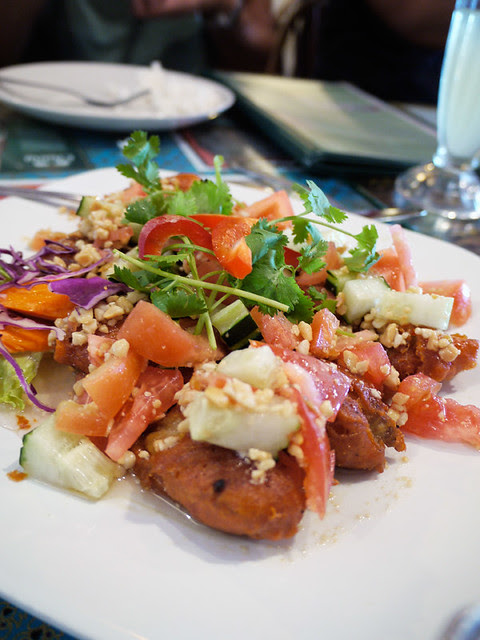 jitlada fried red snapper salad