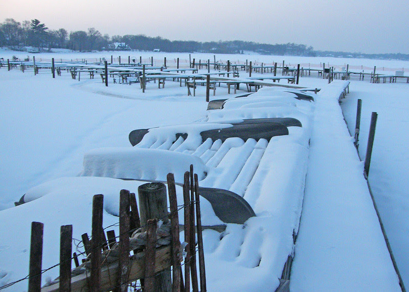 Snow covered dock 2013