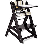 Costway Adjustable Height Wooden Baby High Chair with Removeable Tray