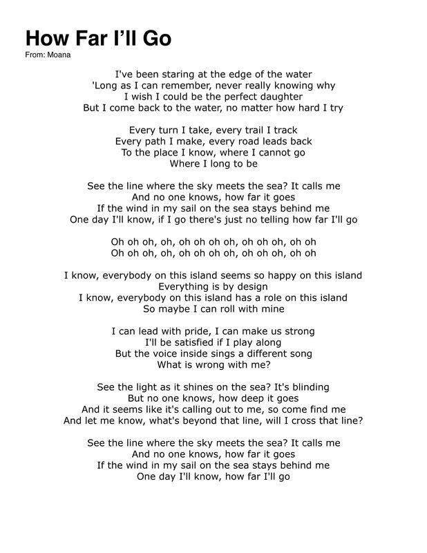 Lirik Lagu How Far I'll Go Alessia Cara : lirik, alessia, Moana, Lyrics, Along