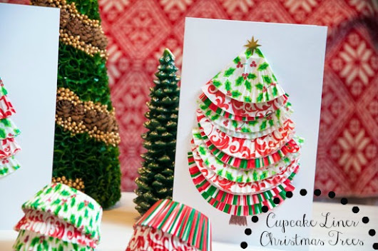 12 Days of Christmas Day 9: Cupcake Liner Christmas Tree Cards