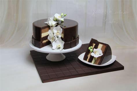 Chocolate Mirror Glaze Cake With Sugar Orchids
