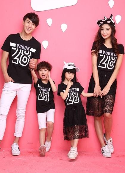 Mã SP: AGD35 - Bộ áo đồng phục gia đình váy nữ + váy dài con gái màu đen Màu sắc : Đen ( Hình ảnh ) Chấ