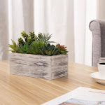 Assorted Artificial Succulents in Vintage Light Gray Wood Planter Box | High Quality Home Decor and Accessories | MyGift