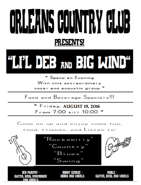Lil Deb & Big Wind This Friday Night - Orleans Country Club