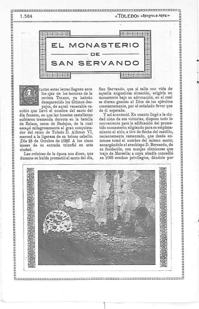 Reportaje sobre los restos del antiguo monasterio de San Servando en Toledo. Reportaje publicado en enero de 1927 en la Revista Toledo. Pág 1