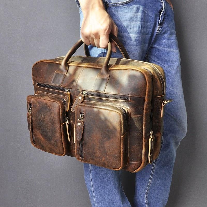 "Buy Genuine Leather man design multifunction purpose Maletas Maletin business briefcase 15"" laptop bag Tote Portfolio bag k1013-d"
