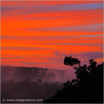 Gorgeous pink sunset at Iguazu Falls