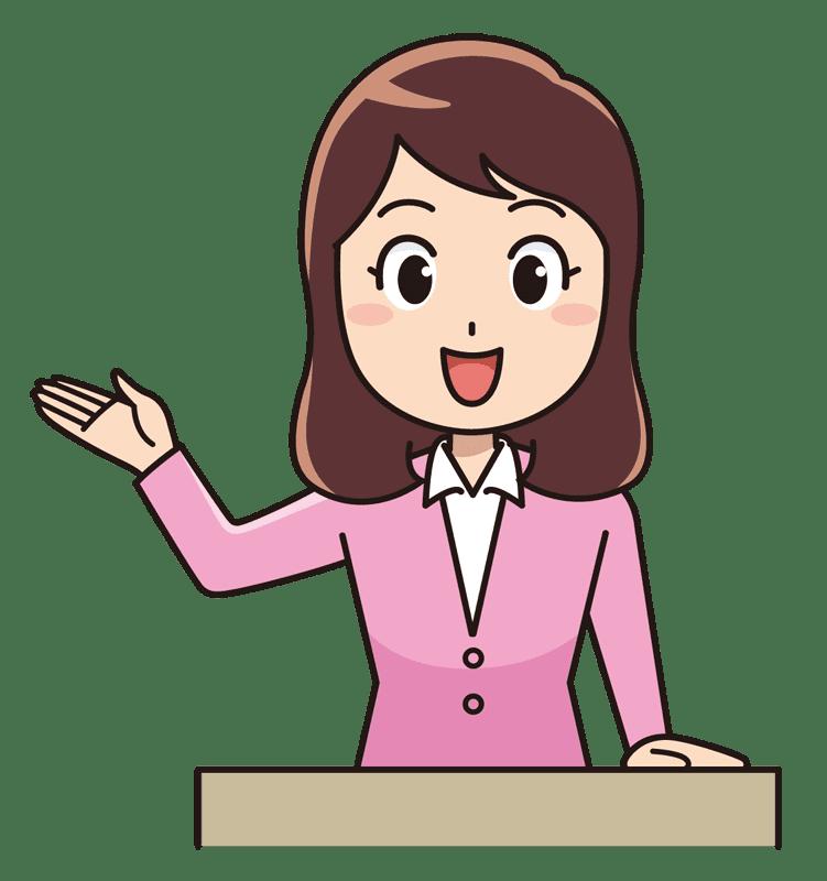 教壇に立つ女性の先生無料イラスト素材 イラスト素材図鑑