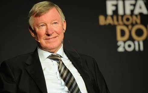 Sir Alex Ferguson smiling at FIFA Balon d'Or 2011-2012 interview