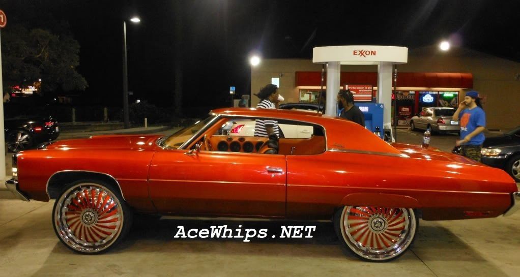 """Ace-1: Candy Orange Chevy Donk on 28"""" DUB Swyrl Floaters"""