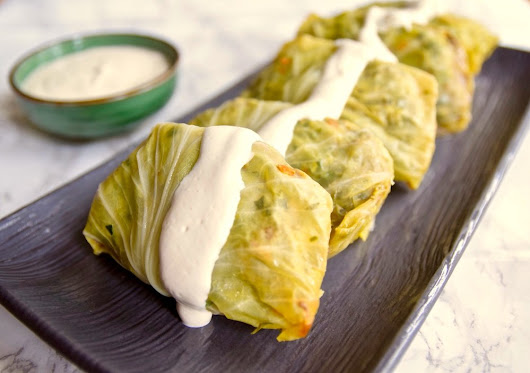 Tomato-less Stuffed Cabbage with Cashew Cream