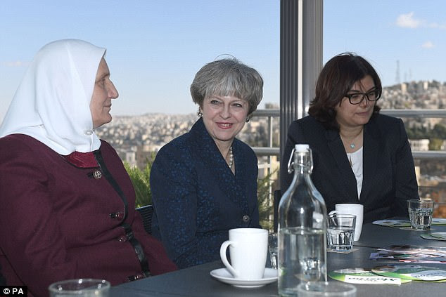 Mrs May was in Jordan today as part of her tour of the Middle East, which saw her visit Iraq yesterday. She was the first British PM to go to the country for nine years