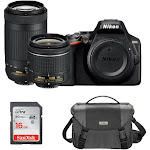 Nikon D3500 DSLR Camera with 18-55mm VR and 70-300mm Lenses with Case and Bundle