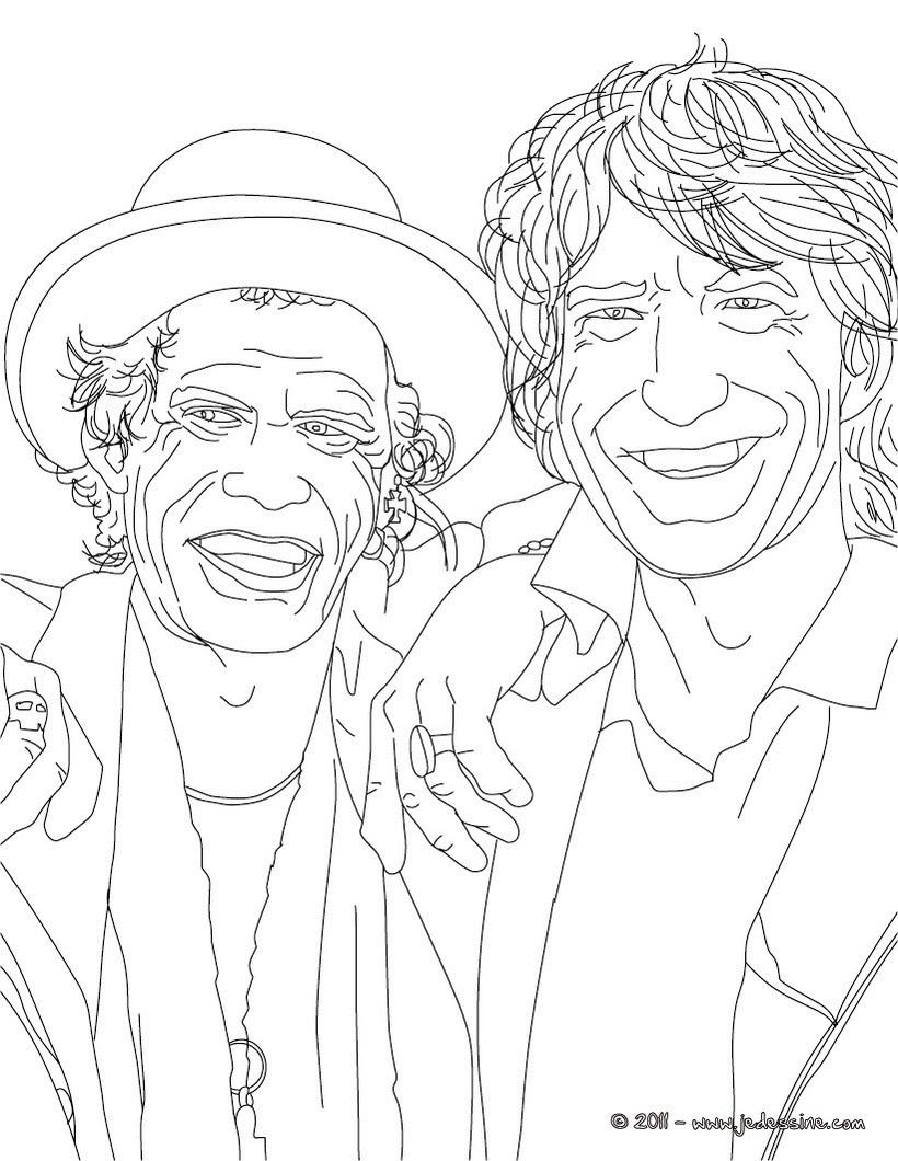 Coloriage de MICK JAGGER ET KEITH RICHARD des Rolling Stones