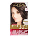 Loreal Excellence Triple Protection Hair Color Creme, 4 Dark Brown - 1 Ea