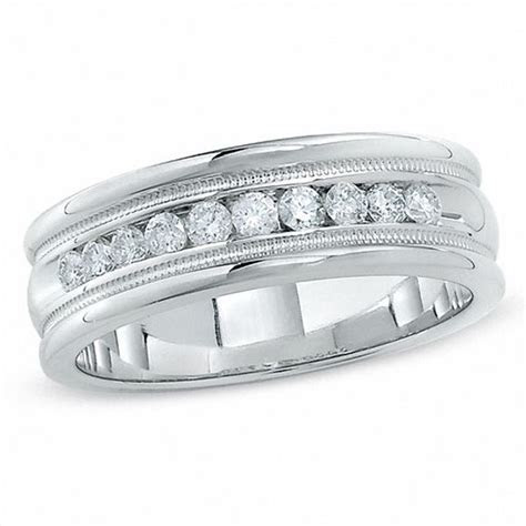Men's 1/2 CT. T.W. Diamond Channel Milgrain Band in 14K