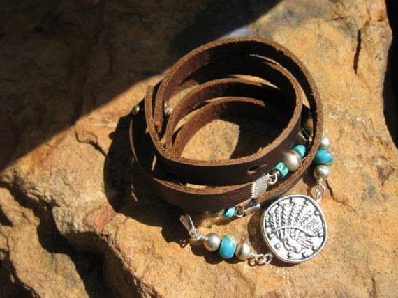 Endless Leather Wrap  TRIBES  Coin Medallion  by fleurdesignz