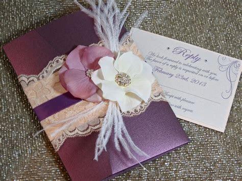 Vingage Glamour Lace Wedding Invitation   Plum & Blush