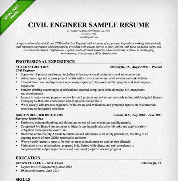 Transportation Engineer Resumes: Jobresumeweb: Engineer Resume Template 2015