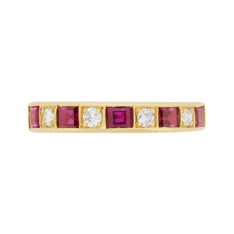 Vintage Ruby and Diamond Half Eternity Ring, c.1970s