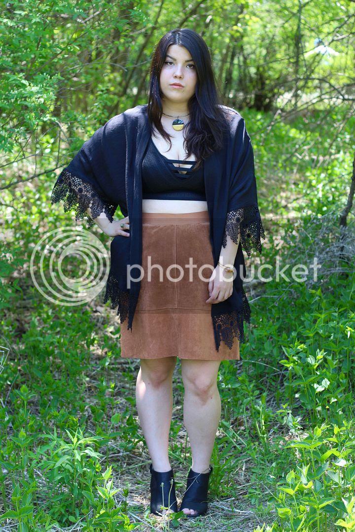 Junarose Plus Size Fashion theinbetweenie Jessica Ip Clothes and Shit Plus Size kimono suede skirt bralette torrid plus size festival fashion canada