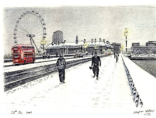 Snow Scene at Westminster Bridge - Original drawings, prints and limited editions by Stephen Wiltshire MBE