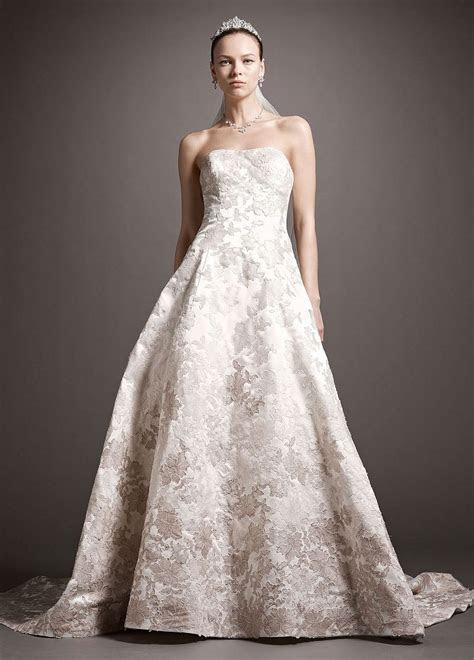 Oleg Cassini Satin Ball Gown Wedding Dress with Ombre