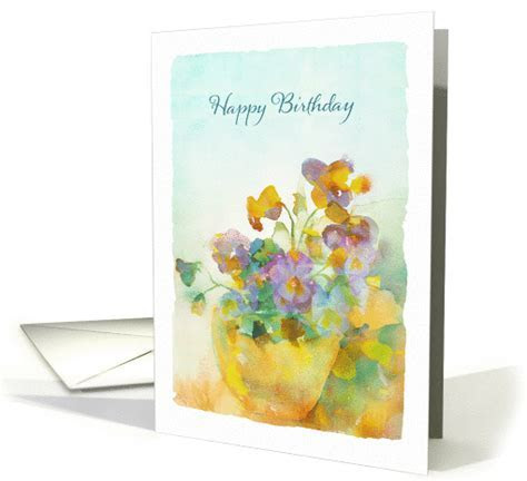 Happy Birthday, Pansies, Watercolor Painting card (1370362)