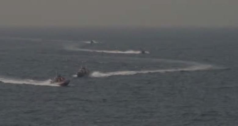 Footage taken aboard the USS Nitze of Islamic Revolutionary Guard vessels.    via REUTERS TV
