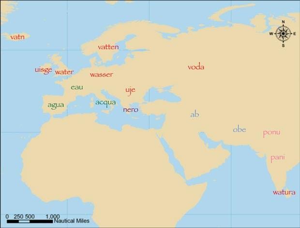 A palavra 'água' em diversas línguas indoeuropeias (Foto: Quentin Atkinson/Divulgação)