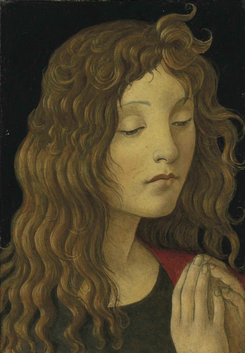 amare-habeo:  Workshop of Alessandro Filipepi, called Sandro Botticelli (1445 – 1510) Saint John the Baptist (а fragment), N/D Oil on panel, Private collection
