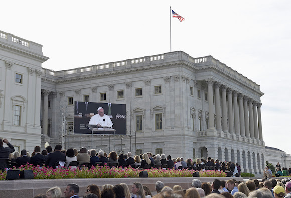 El Papa habla ante el Congreso. Foto: AP Photo/Susan Walsh