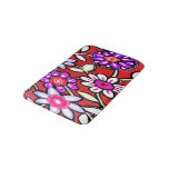 Funky Retro Red Flowers Bath Mats