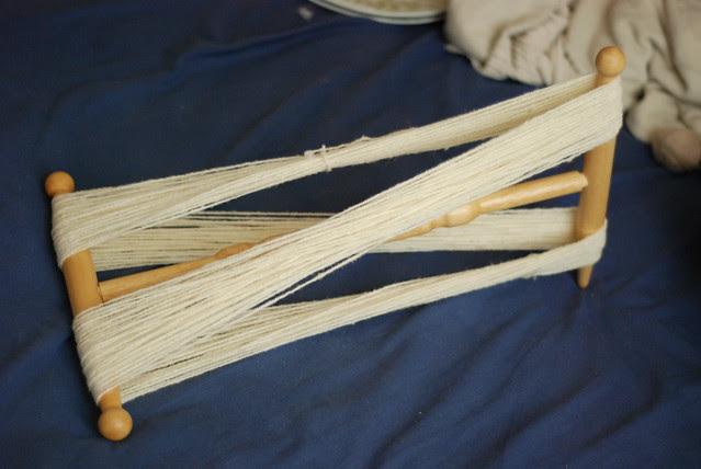 Winding handspun yarn on a niddy noddy
